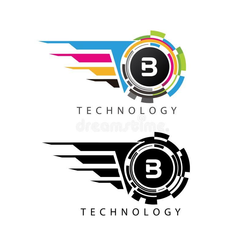 Fast Visual Pixel Data Digital B Letter Logo vector illustration