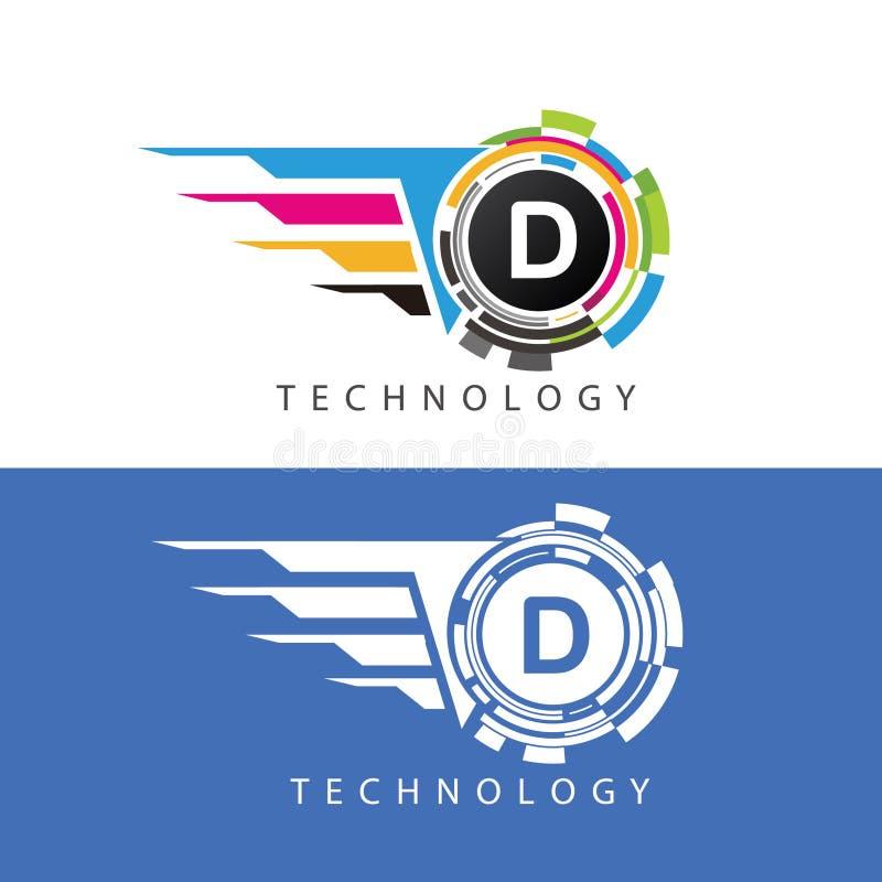 Fast Visual Pixel Data Digital D Letter Logo vector illustration