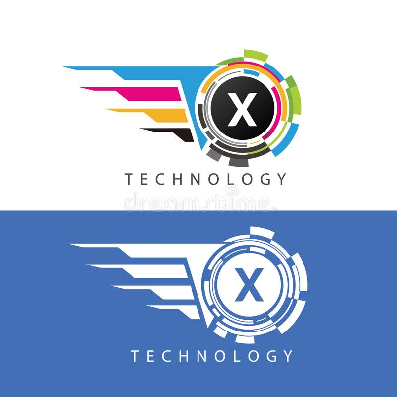 Fast Visual Pixel Data Digital X Letter Logo stock illustration