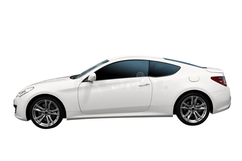 Fast white car isolated stock images