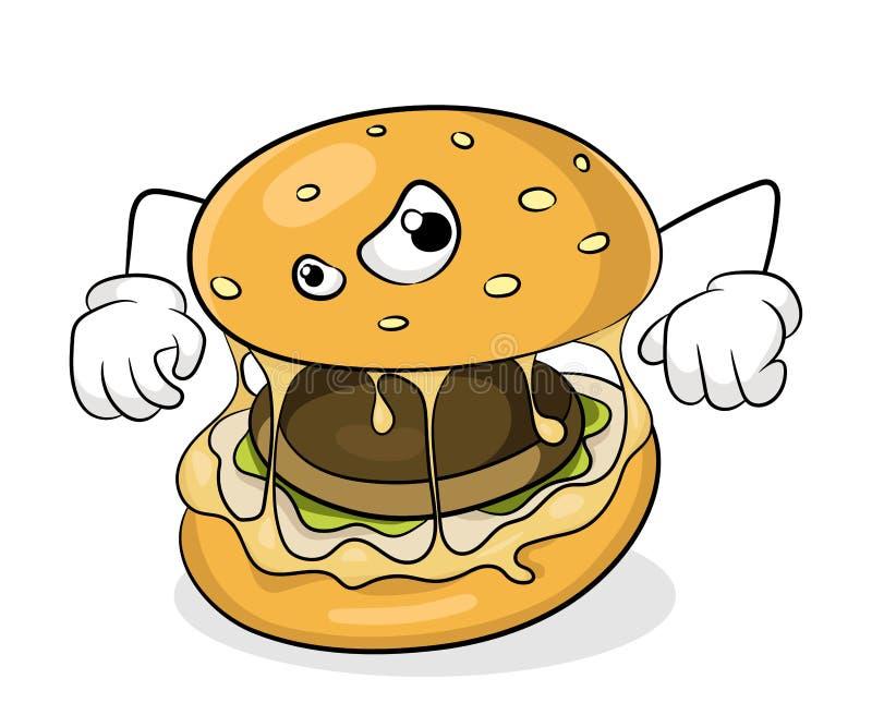 Fasta food łasowania pojęcia bad niezdrowy hamburger ilustracja wektor