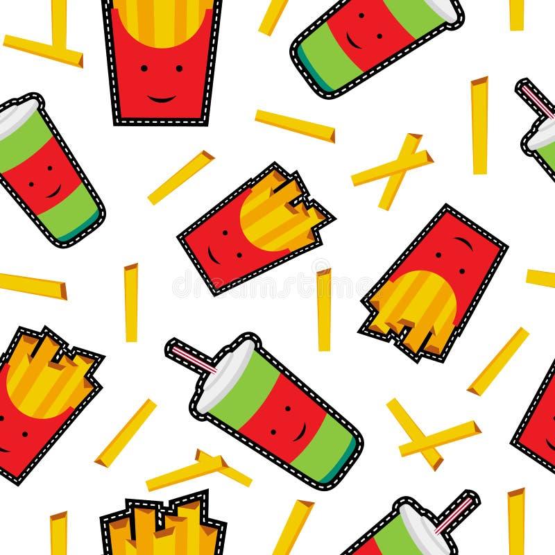 Fasta food ściegu łaty ikon bezszwowy wzór royalty ilustracja