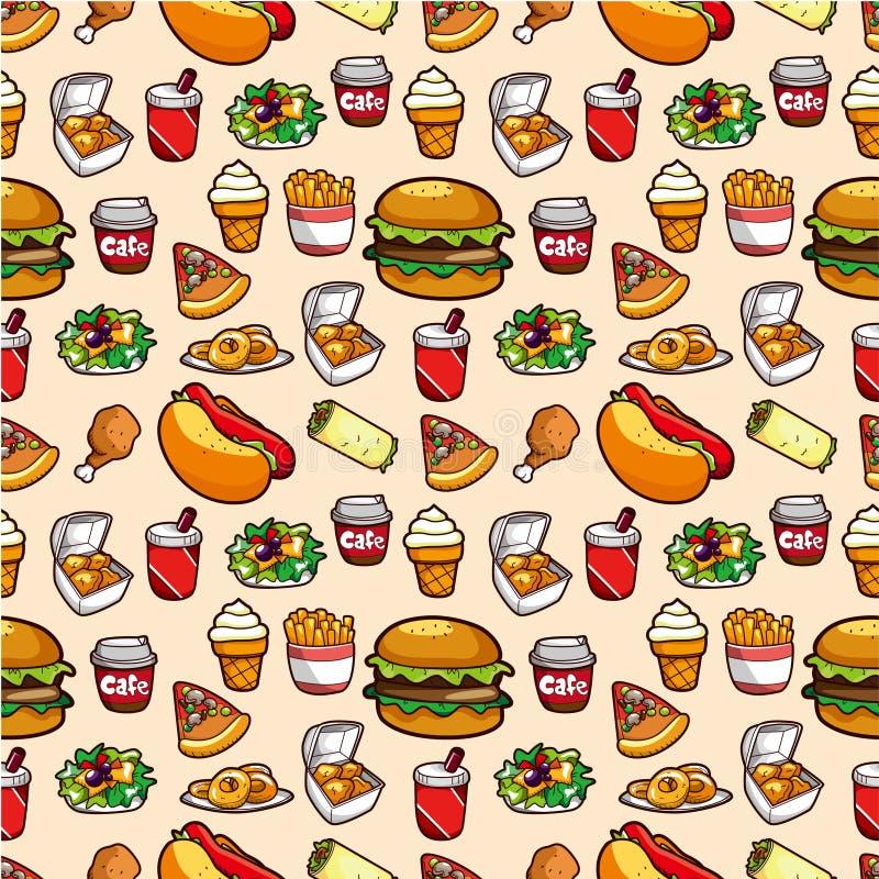 fasta food bezszwowy deseniowy royalty ilustracja