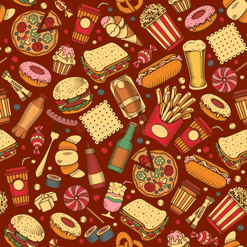 Fasta food bezszwowy wzór ilustracji