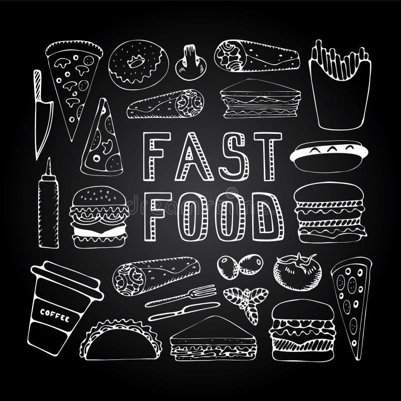 Fasta food doodle set royalty ilustracja
