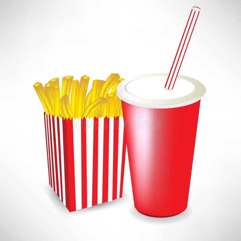 fasta food francuz smaży sok royalty ilustracja