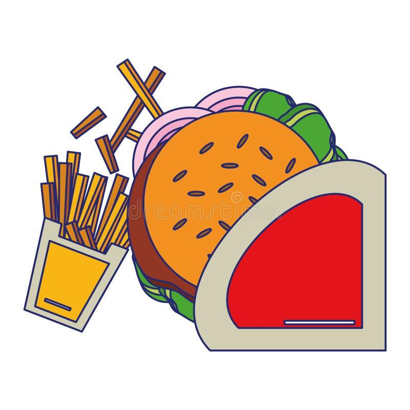 Fasta food francuza i hamburgeru dłoniaków niebieskie linie royalty ilustracja