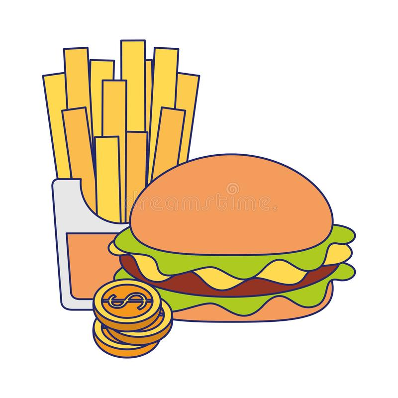 Fasta food francuza i hamburgeru dłoniaki z monet niebieskimi liniami ilustracji