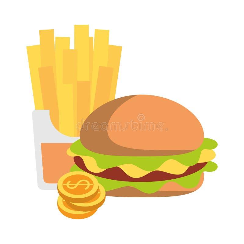 Fasta food francuza i hamburgeru dłoniaki z monetami ilustracja wektor