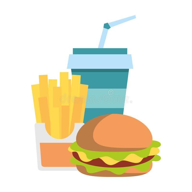 Fasta food francuza i hamburgeru dłoniaki z sodowaną filiżanką ilustracji