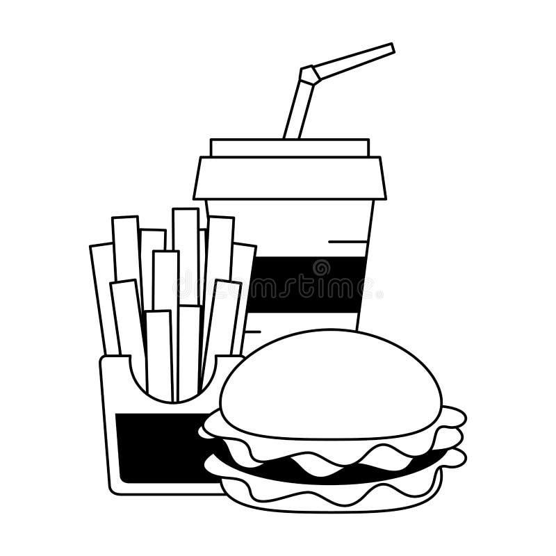 Fasta food francuza i hamburgeru dłoniaki z sodowaną filiżanką royalty ilustracja