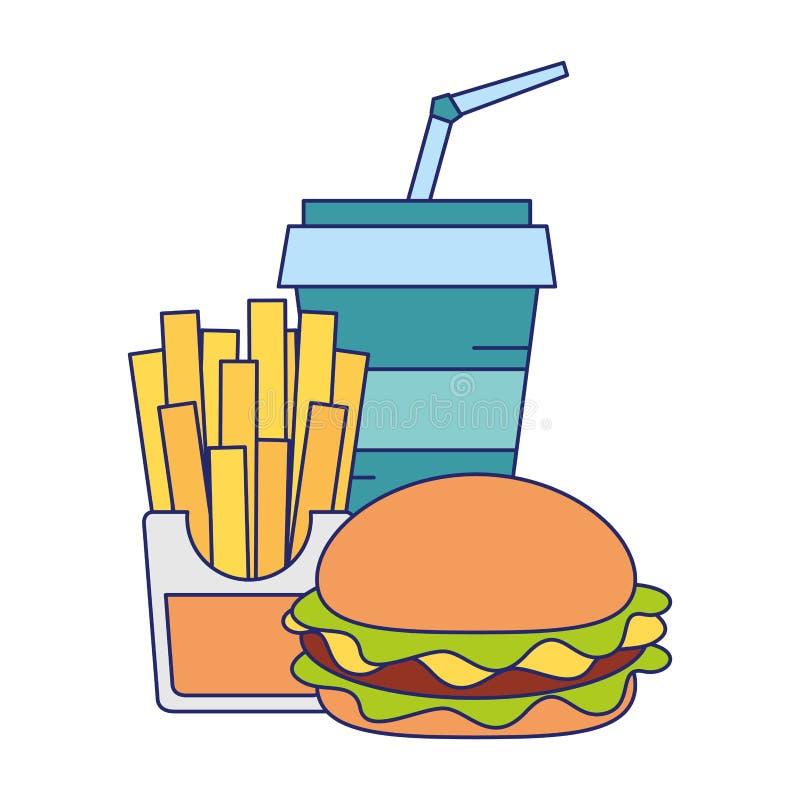 Fasta food francuza i hamburgeru dłoniaki z sodowanymi filiżanek niebieskimi liniami royalty ilustracja