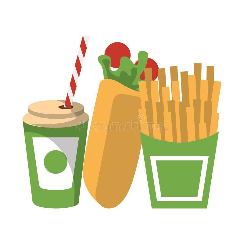 Fasta food francuza i opakunku dłoniaki z sodowaną filiżanką odizolowywającą ilustracja wektor