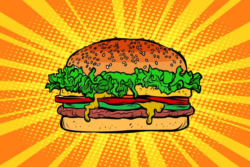 Fasta food hamburger, hamburger ilustracja wektor