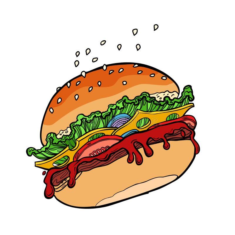 Fasta food hamburger royalty ilustracja