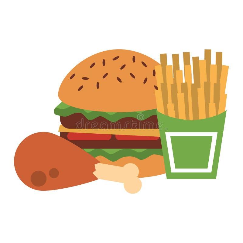 Fasta food hamburger z kurczaka i francuza dłoniakami royalty ilustracja