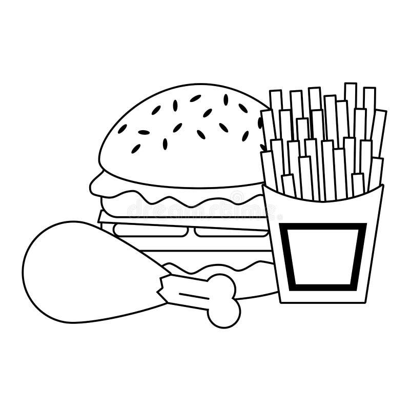 Fasta food hamburger z kurczakiem i francuzem smaży w czarny i biały royalty ilustracja