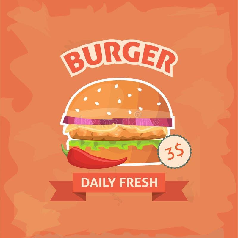 Fasta food hamburger z sezamowym mięsnym sałatki i sera wystrzału sztuki retro stylem karmowy zdrowy niezdrowy Hamburger z chili ilustracji