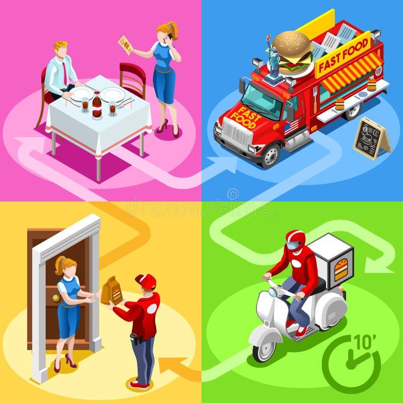 Fasta Food hamburgeru Domowej dostawy Ciężarowi Wektorowi Isometric ludzie ilustracji
