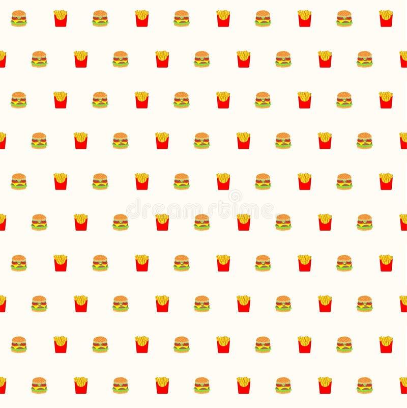 Fasta food, hamburgeru i francuza dłoniaków bezszwowy deseniowy backgroun, royalty ilustracja