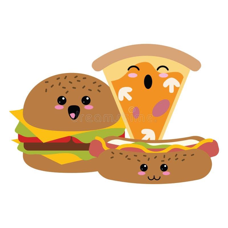 Fasta food kawaii kreskówka ilustracji