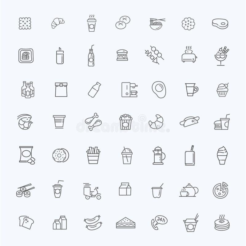 Fasta food konturu wektorowe ikony ustawiać _ ilustracja wektor