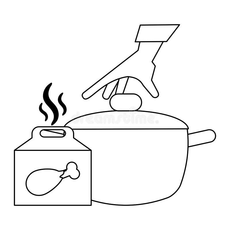 Fasta food kurczaka pudełko i garnek czarny i biały ilustracja wektor