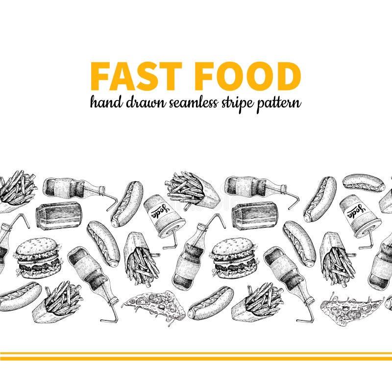 Fasta food lampasa wektorowa ręka rysujący bezszwowy wzór Ręka rysująca szybkie żarcie menu ilustracja royalty ilustracja