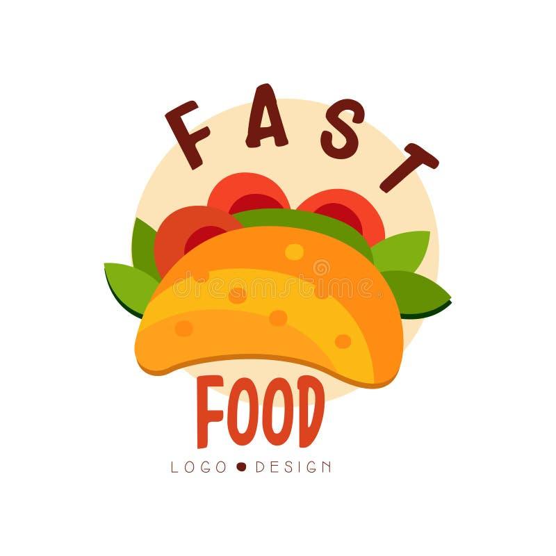 Fasta food loga projekt, odznaka z tacos znakiem, Meksykańskiego fasta food menu wektorowa ilustracja na białym tle ilustracja wektor