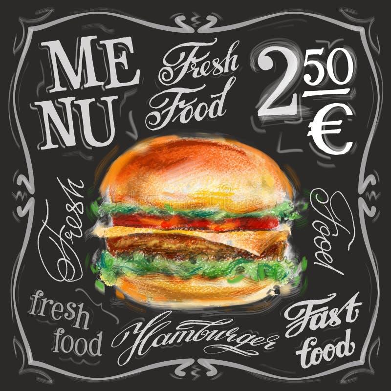 Fasta food loga projekta wektorowy szablon hamburgery ilustracji