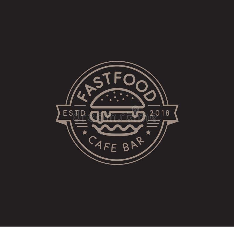 Fasta food loga wektorowy szablon Gorącego hamburgeru liniowy stemplowy projekt hamburgeru znak Cheeseburger znaka projekt wektor ilustracja wektor