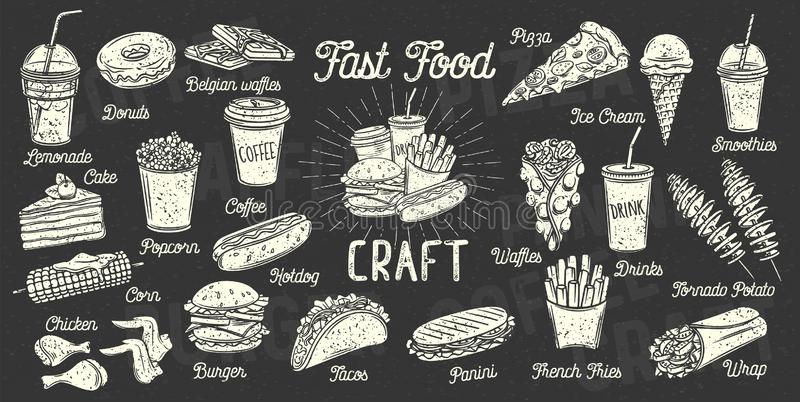 Fasta food menu royalty ilustracja
