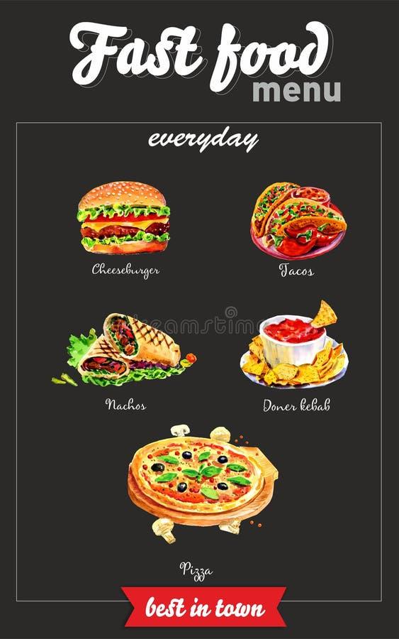 Fasta food menu Akwarela obrazki ilustracji