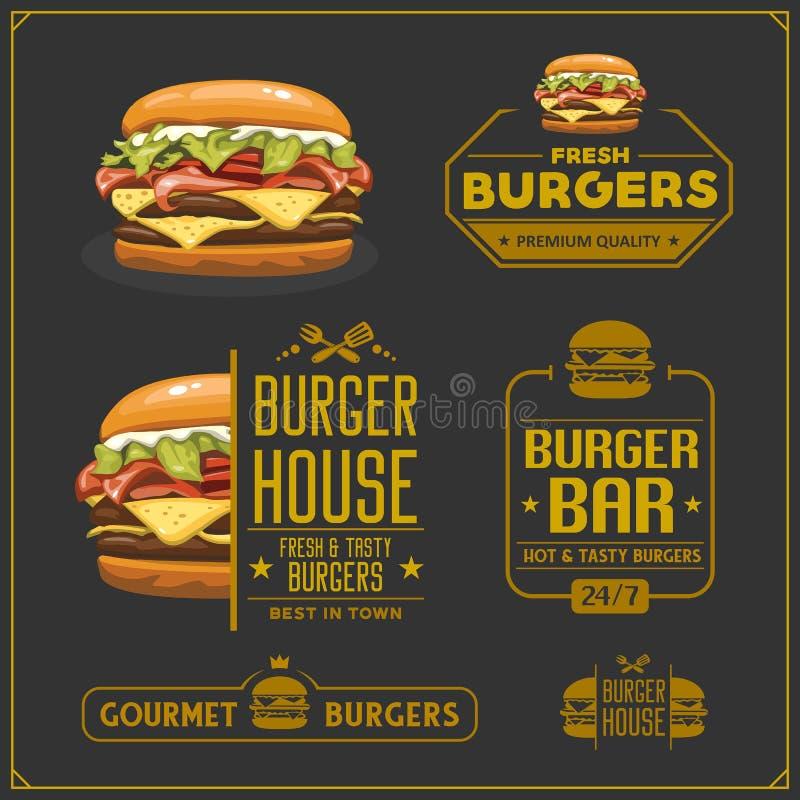 Fasta food menu Hamburgerów emblematy, etykietki i projektów elementy, Hamburgeru logo projekta domowy szablon royalty ilustracja
