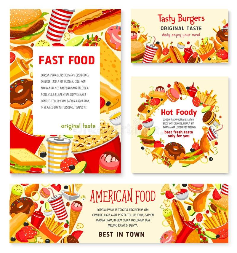 Fasta food menu plakatów restauracyjni wektorowi szablony royalty ilustracja