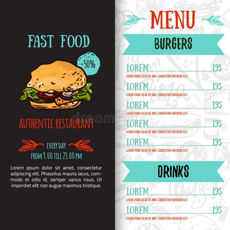 Fasta food menu projekta szablon z pociągany ręcznie wektorową ilustracją Pokrywa restauracyjny menu z hamburgerem, pizza, hot do royalty ilustracja