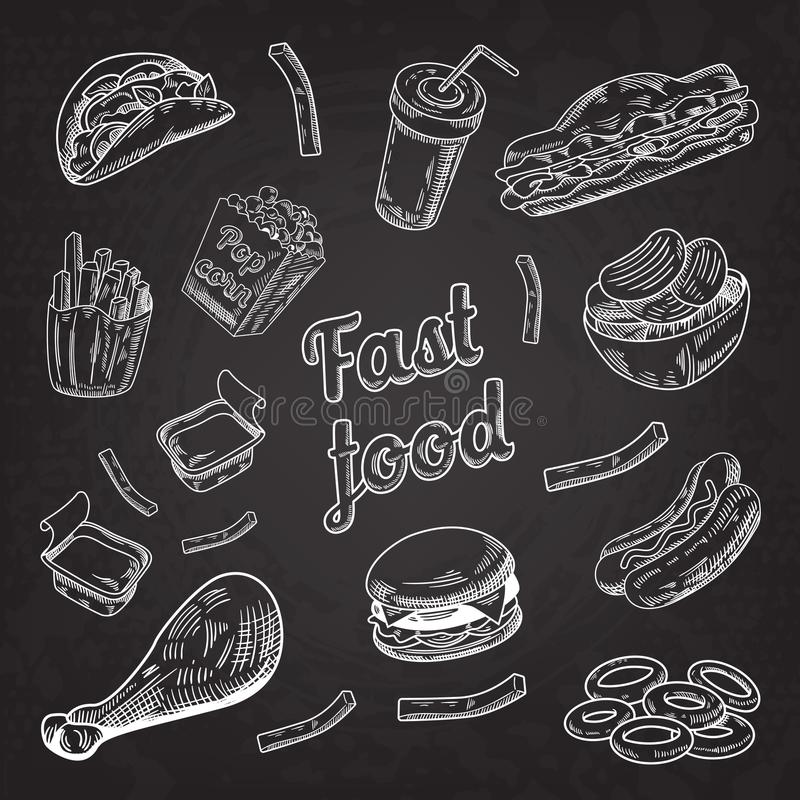 Fasta Food menu Restauracyjny Blackboard Ręka Rysujący nakreślenie hamburgeru francuz Smaży hot dog ilustracji