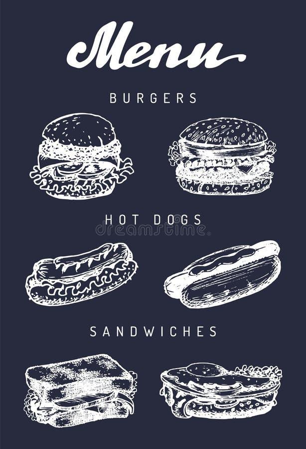 Fasta food menu w wektorze Hamburgery, hot dog, ściskają ilustracje Przekąska bar, uliczna restauracja, cukierniane ikony ilustracji