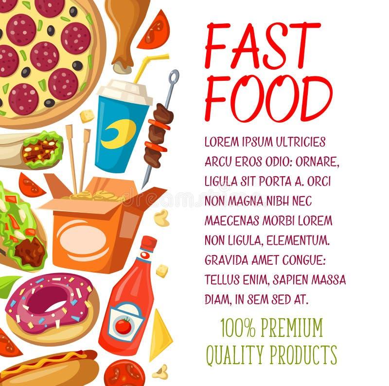 Fasta food menu wektoru restauracyjny plakat royalty ilustracja