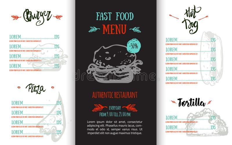 Fasta food menu z ręka rysującymi elementami i literowanie w nowożytnym bezpłatnym stylu Pizza, hot dog nakreślenia korporacyjna  ilustracja wektor