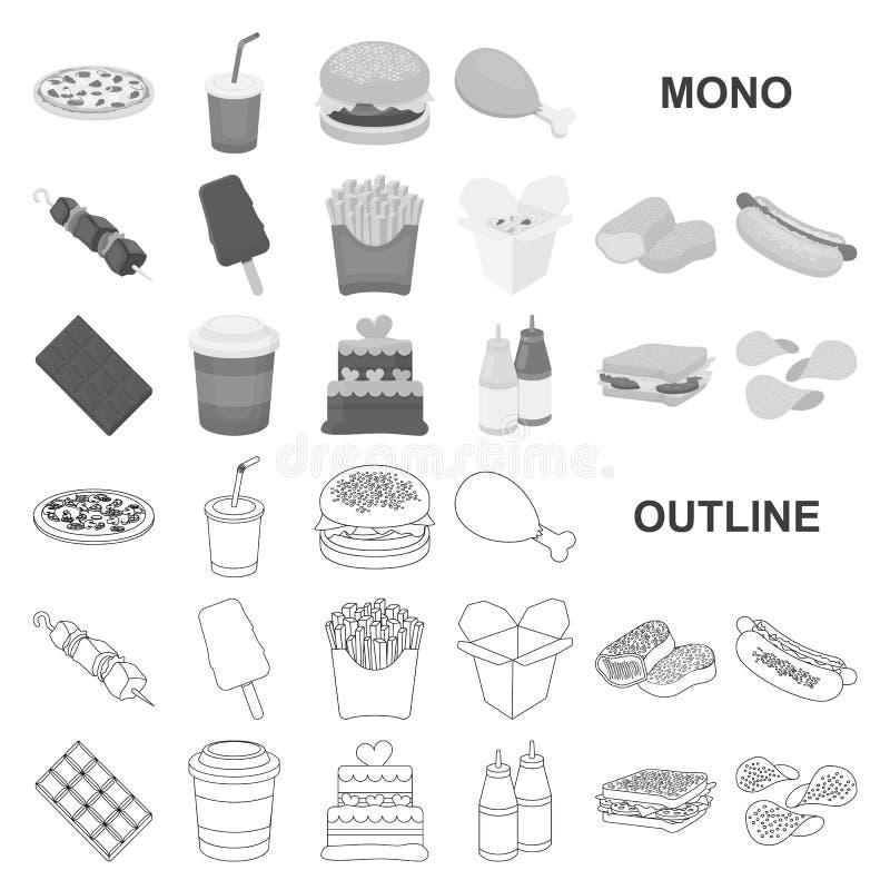 Fasta food monochromu ikony w ustalonej kolekcji dla projekta Jedzenie od kończącej produktu symbolu zapasu wektorowej sieci ilustracja wektor