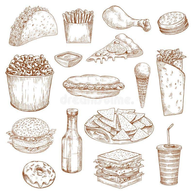 Fasta food nakreślenia wektorowe ikony posiłek, przekąski, napoje ilustracji