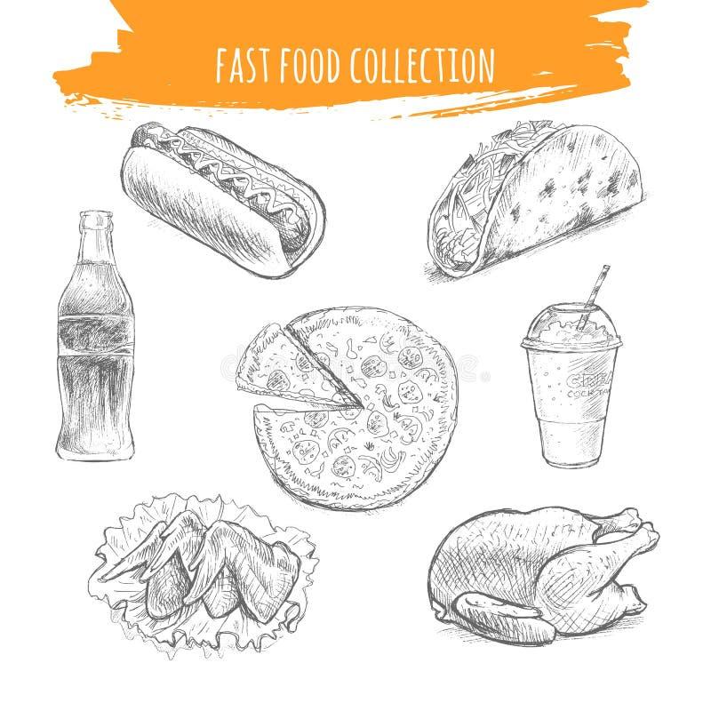 Fasta Food nakreślenie Przekąsek i deserów sztuki ołówkowa ilustracja ilustracja wektor