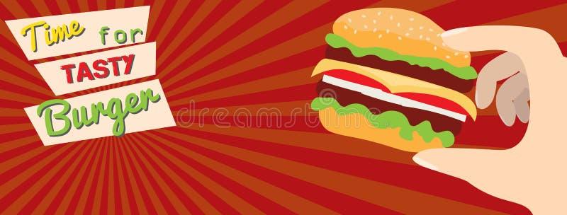 Fasta food ogłoszenia płaski sztandar ilustracji