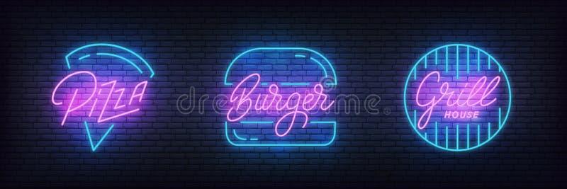 Fasta food pizzy, hamburgeru i grilla neonowy znak, Rozjarzone karmowe literowanie etykietki dla baru, kawiarnia, restauracja ilustracji