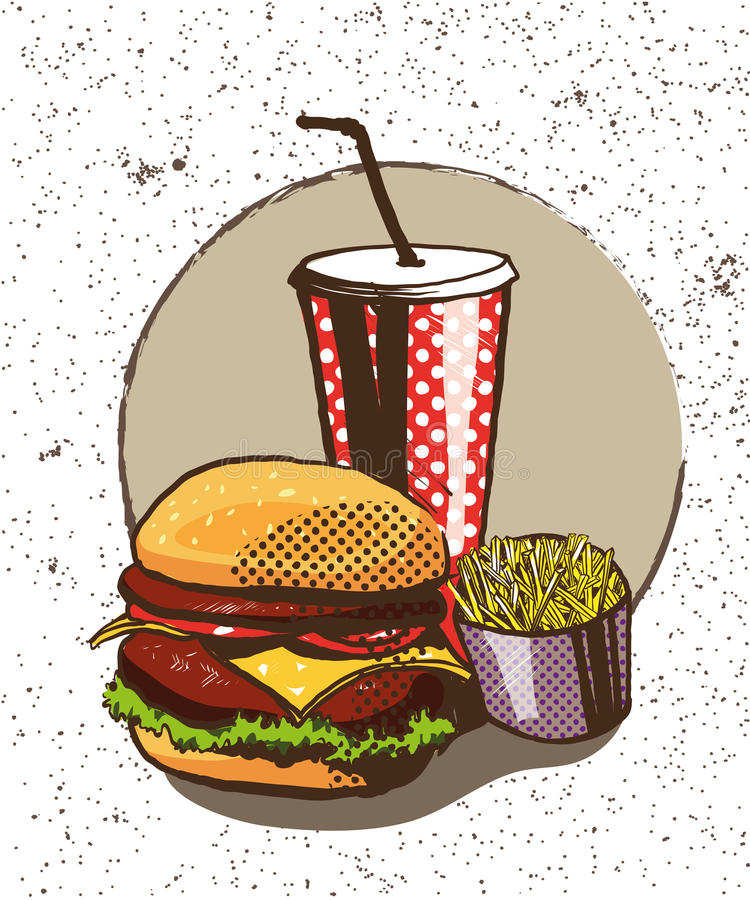Fasta food plakat w retro wystrzał sztuki stylu Wektorowa komiczna ilustracja Pojęcia graficzny tło z hamburgerem ilustracji