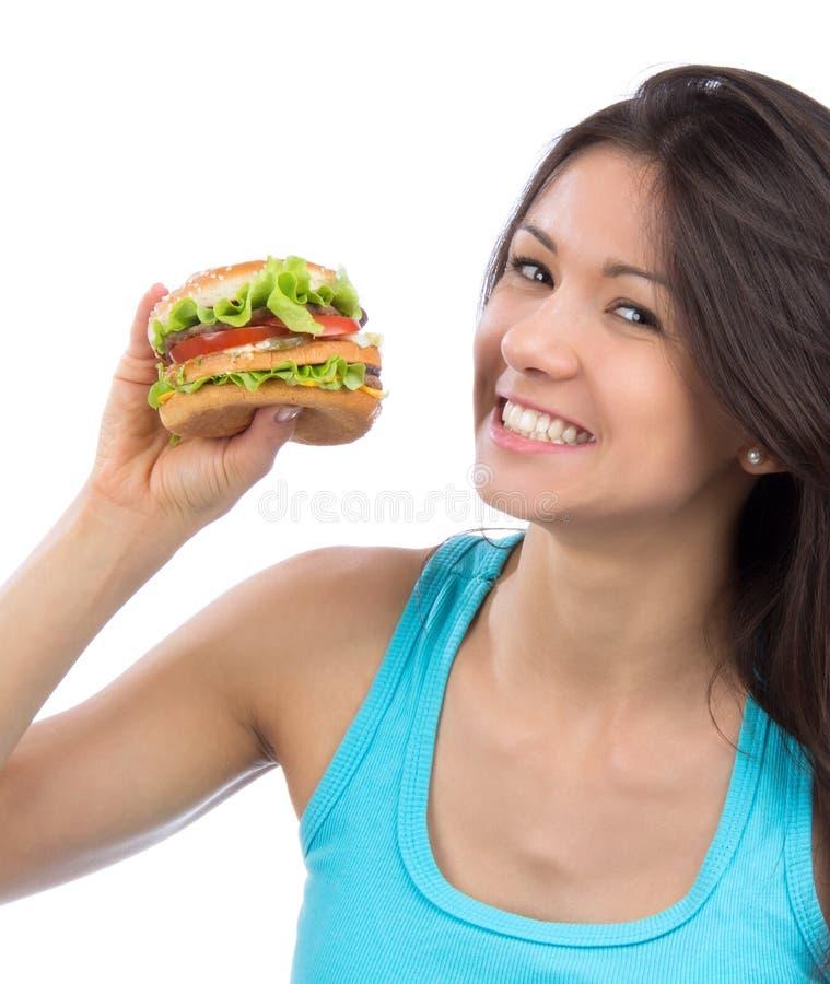 Fasta food pojęcie Smakowita niezdrowa hamburger kanapka obraz stock