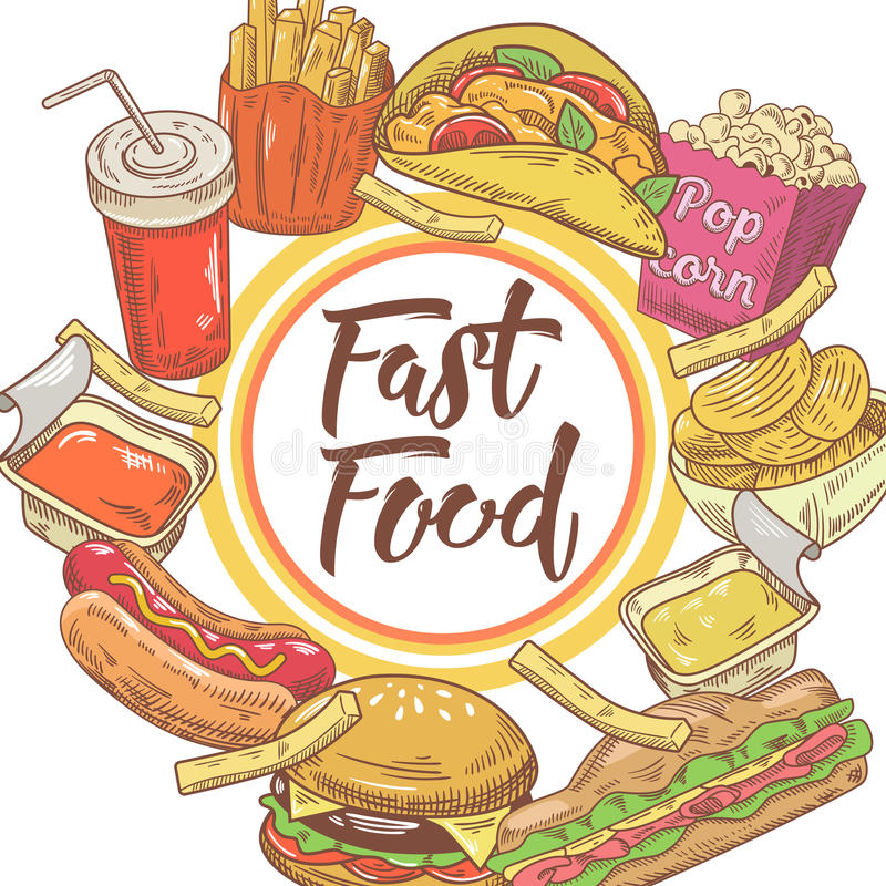 Fasta Food ręka Rysujący projekt z kanapką, dłoniakami i hamburgerem, Niezdrowy łasowanie ilustracja wektor