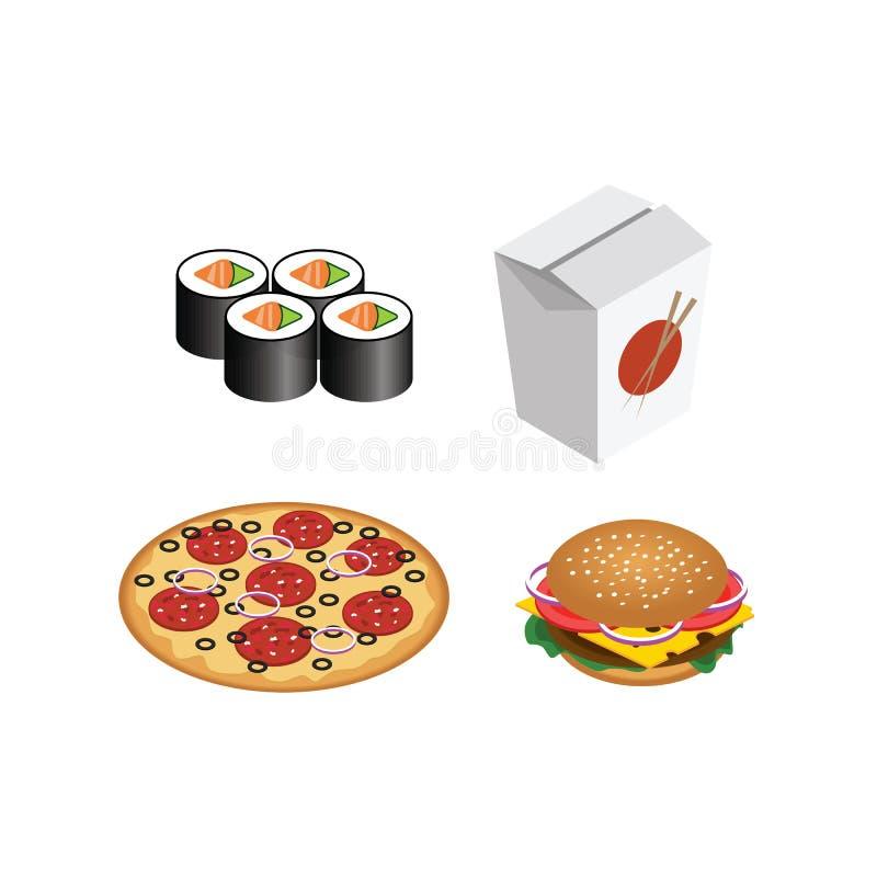Fasta food realistyczny set Odosobniony hamburger, pizza, suszi, rolki Ilustracja dla projekta fasta food menu royalty ilustracja