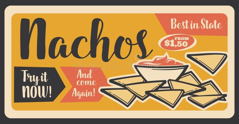 Fasta food retro sztandar dla nachos Meksykańskiej przekąski ilustracji